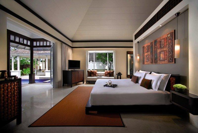 Hotelzimmer mit Volleyball im Banyan Tree Seychelles